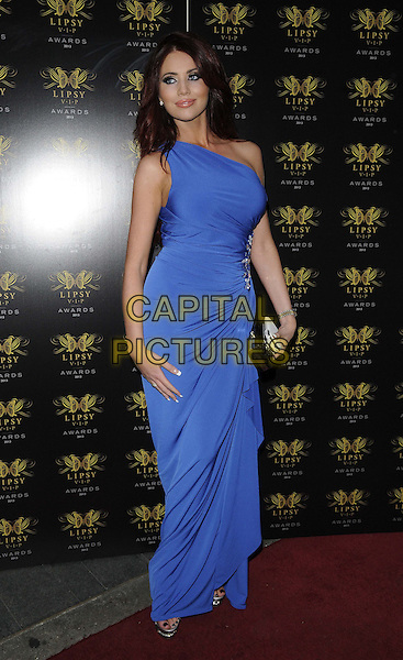 Amy Childs<br /> The Lipsy VIP Fashion Awards 2013, DSTRKT, Rupert St., London, England.<br /> May 29th, 2013<br /> full length blue one shoulder dress clutch bag black  <br /> CAP/CAN<br /> &copy;Can Nguyen/Capital Pictures
