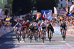 Bob Jungels (LUX) Quick-Step Floors crosses the finish line in Bergamo to win Stage 15 of the 100th edition of the Giro d'Italia 2017, running 199km from Valdengo to Bergamo, Italy. 21st May 2017.<br /> Picture: LaPresse/Gian Mattia D'Alberto | Cyclefile<br /> <br /> <br /> All photos usage must carry mandatory copyright credit (&copy; Cyclefile | LaPresse/Gian Mattia D'Alberto)