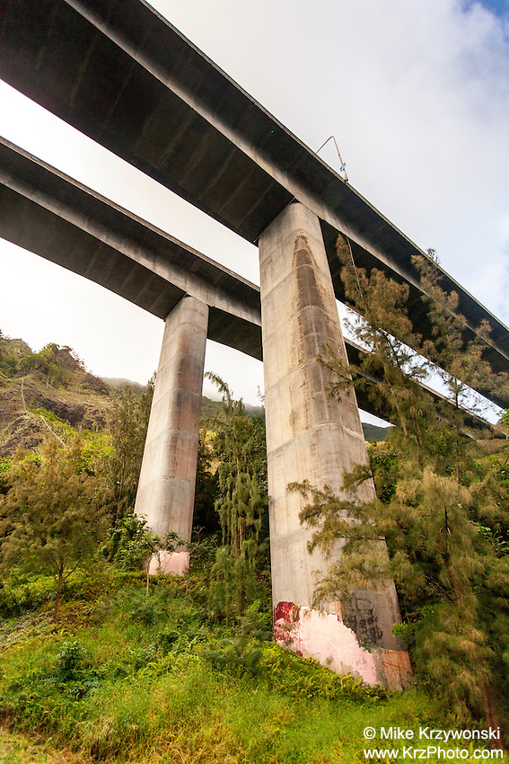Underview of H-3 freeway in Haiku valley, Kaneohe, Oahu
