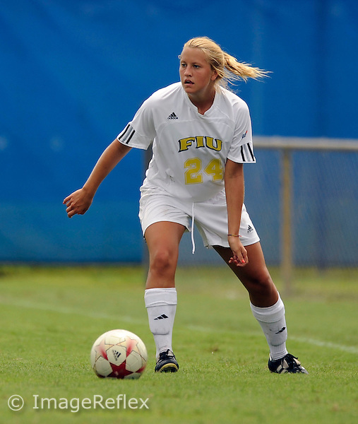 Florida International University women's soccer player midfielder Cortney Bergin (24) plays against the University of Buffalo which won the game 2-0 on August 31, 2008 at Miami, Florida. .