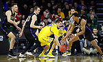 SIOUX FALLS, SD - MARCH 7: South Dakota State Jackrabbits guard David Wingett #50 attempts to steal the ball from IPFW Mastodons guard Brian Patrick #2 at the 2020 Summit League Basketball Championship in Sioux Falls, SD. (Photo by Richard Carlson/Inertia)