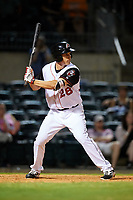 Arkansas Travelers third baseman Seth Mejias-Brean (28) at bat during a game against the Midland RockHounds on May 25, 2017 at Dickey-Stephens Park in Little Rock, Arkansas.  Midland defeated Arkansas 8-1.  (Mike Janes/Four Seam Images)