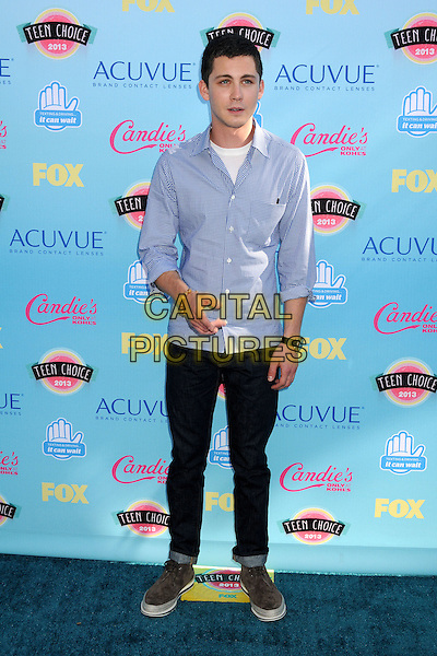 Logan Lerman<br /> 2013 Teen Choice Awards - Arrivals held at Gibson Amphitheatre, Universal City, California, USA. <br /> August 11th, 2013<br /> full length white top blue shirt  check black jeans denim<br /> CAP/ADM/BP<br /> &copy;Byron Purvis/AdMedia/Capital Pictures