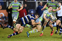Josh Bayliss of Bath Rugby tackles Craig Willis of Newcastle Falcons. Anglo-Welsh Cup match, between Bath Rugby and Newcastle Falcons on January 27, 2018 at the Recreation Ground in Bath, England. Photo by: Patrick Khachfe / Onside Images