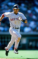 Nomar Garciaparra of the Boston Red Sox runs to first base during a 1999 Major League Baseball season game against the Anaheim Angels in Anaheim, California. (Larry Goren/Four Seam Images)