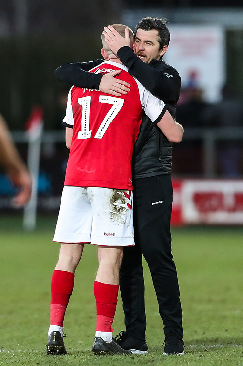 Fleetwood Town's manager Joey Barton embraces Paddy Madden after the match<br /> <br /> Photographer Andrew Kearns/CameraSport<br /> <br /> The EFL Sky Bet League One - Fleetwood Town v Charlton Athletic - Saturday 2nd February 2019 - Highbury Stadium - Fleetwood<br /> <br /> World Copyright © 2019 CameraSport. All rights reserved. 43 Linden Ave. Countesthorpe. Leicester. England. LE8 5PG - Tel: +44 (0) 116 277 4147 - admin@camerasport.com - www.camerasport.com