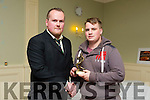 Aidan Mulvihill Incoming President for 2015 presenting Liam Barrett with player of the year for last season 2014 to 2015 at the Listowel RFC Social & Awards night in the Listowel Arms hotel on Saturday