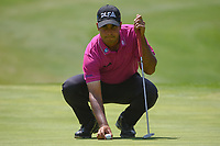 Shubhankar Sharma (IND) lines up his putt on 1 during round 3 of the World Golf Championships, Mexico, Club De Golf Chapultepec, Mexico City, Mexico. 3/3/2018.<br /> Picture: Golffile | Ken Murray<br /> <br /> <br /> All photo usage must carry mandatory copyright credit (&copy; Golffile | Ken Murray)