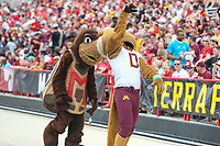 College Park, MD - September 22, 2018:  The Minnesota Golden Gophers mascot is being stalked by Maryland Terrapins mascot during the game between Minnesota and Maryland at  Capital One Field at Maryland Stadium in College Park, MD.  (Photo by Elliott Brown/Media Images International)