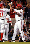 18 May 2007: Washington Nationals first baseman Dmitri Young celebrates scoring a run against the Baltimore Orioles at RFK Stadium in Washington, DC. The Orioles defeated the Nationals 5-4 in the first game of the 3-game interleague series...Mandatory Photo Credit: Ed Wolfstein Photo