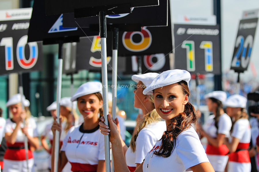 MELBOURNE, 27 MARCH - Images of the Qantas grid girls at the 2011 Formula One Australian Grand Prix at the Albert Park Circuit, Melbourne, Australia. (Photo Sydney Low / syd-low.com)