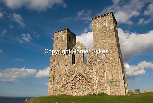 Roman Fort Reculver Kent UK. Remains of 12 centuary church towers . Nr Herne Bay.