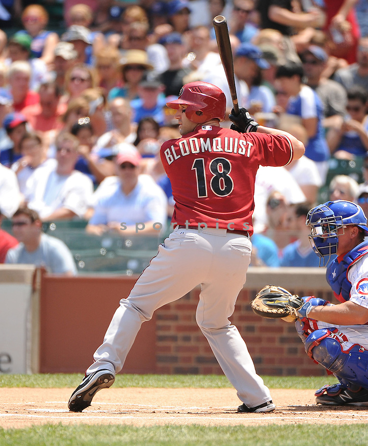 WILLIE BLOOMQUIST (18) of the Arizona Diamondbacks in action during the Diamondbacks game against the Chicago Cubs on July 15, 2012 at Wrigley Field in Chicago, IL. The Cubs beat the Diamondbacks 3-1.
