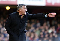 Pictured: Sam Allardyce, manager for West Ham, shouting instructions to his players from the touchline. 01 February 2014<br />