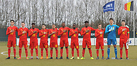 20180308 - TUBIZE , BELGIUM : Belgian team with Fostave Mabani (20)   Mathias De Wolf (22)   Jeremy Landu (14)   Marco Kana (17)   Senne Lammens (12 and goalkeeper)   Dragan Lausberg (15 and captain)   Maxime Cavelier (21)   Marouane Balouk (18)   Bram Van Laere (13)   Yannick Leliendal (16)   Anouar Ait El Hadj (19)   pictured during a friendly game between the teams of the Belgian Red Devils Under 16 and Northern Ireland Under 16 at the Belgian Football Centre in Tubize , Thursday 8 th March 2018 ,  PHOTO Dirk Vuylsteke | Sportpix.Be