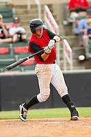Michael Marjama (23) of the Kannapolis Intimidators at bat against the Rome Braves at CMC-Northeast Stadium on August 5, 2012 in Kannapolis, North Carolina.  The Intimidators defeated the Braves 9-1.  (Brian Westerholt/Four Seam Images)