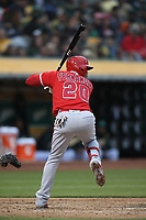 OAKLAND, CA - JUNE 15:  Jose Miguel Fernandez #20 of the Los Angeles Angels of Anaheim bats against the Oakland Athletics during the game at the Oakland Coliseum on Friday, June 15, 2018 in Oakland, California. (Photo by Brad Mangin)