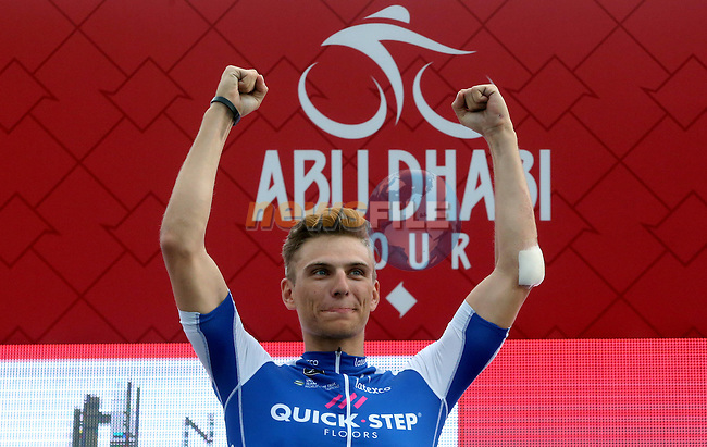 Marcel Kittel (GER) Quick-Step Floors wins Stage 2 the Nation Towers Stage of the 2017 Abu Dhabi Tour, running 153km around the city of Abu Dhabi, Abu Dhabi. 24th February 2017<br />