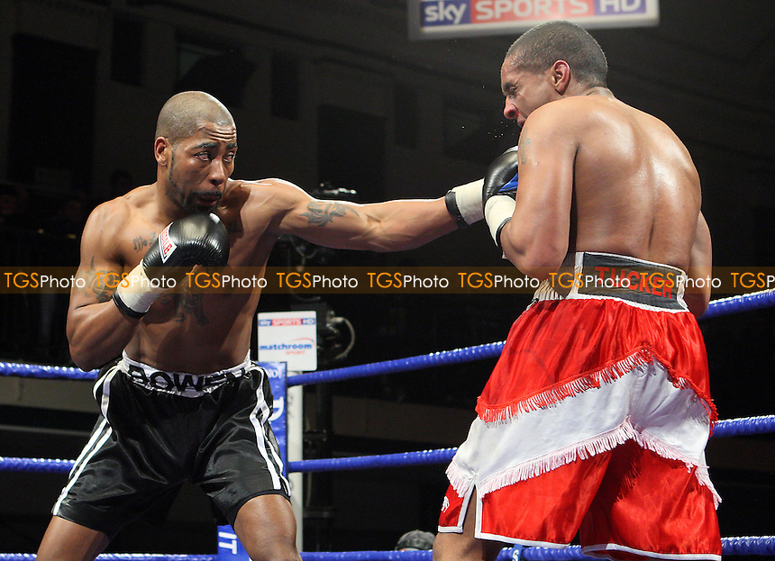 Paul Bowen (black shorts) dfeats James Tucker in a Super-Middleweight boxing contest at York Hall, Bethnal Green, promoted by Barry Hearn / Matchroom Sports - 12/02/10 - MANDATORY CREDIT: Gavin Ellis/TGSPHOTO - Self billing applies where appropriate - Tel: 0845 094 6026