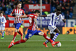 Atletico de Madrid´s Gimenez and Real Sociedad´s Bruma during 2015-16 La Liga match between Atletico de Madrid and Real Sociedad at Vicente Calderon stadium in Madrid, Spain. March 01, 2016. (ALTERPHOTOS/Victor Blanco)