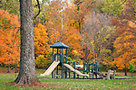 A Playground In The Park During The Peak Of Autumn In Sharon Woods, Ohio; USA