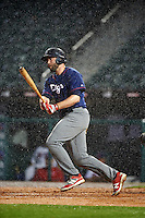 Lehigh Valley IronPigs designated hitter Darin Ruf (28) at bat in the pouring rain during a game against the Buffalo Bisons on July 9, 2016 at Coca-Cola Field in Buffalo, New York.  Lehigh Valley defeated Buffalo 9-1 in a rain shortened game.  (Mike Janes/Four Seam Images)