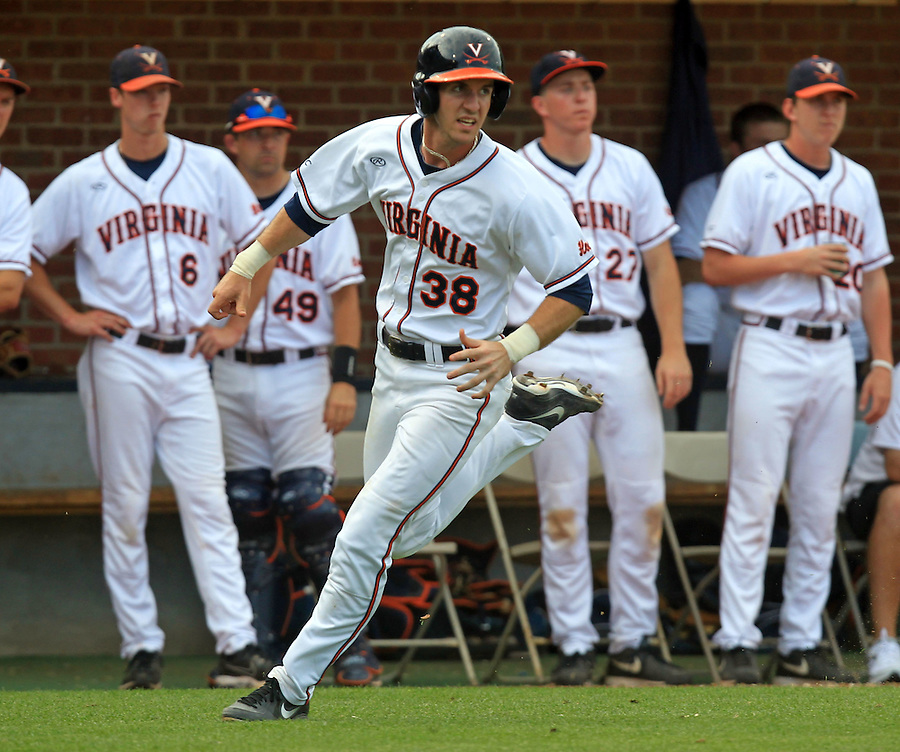 Virginia outfielder Mike Papi (38) rounds third base for a score in the first inning during the game Tuesday night against VCU at Davenport Stadium in Charlottesville, VA. Photo/The Daily Progress/Andrew Shurtleff
