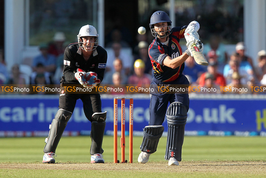 James Foster in batting action for Essex as Craig Kieswetter looks on - Somerset Sabres vs Essex Eagles - Friends Life T20 Quarter-Final Cricket at the County Ground, Taunton - 24/07/12 - MANDATORY CREDIT: Gavin Ellis/TGSPHOTO - Self billing applies where appropriate - 0845 094 6026 - contact@tgsphoto.co.uk - NO UNPAID USE.