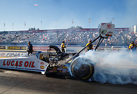 Nov 11, 2016; Pomona, CA, USA; NHRA top fuel driver Richie Crampton during qualifying for the Auto Club Finals at Auto Club Raceway at Pomona. Mandatory Credit: Mark J. Rebilas-USA TODAY Sports