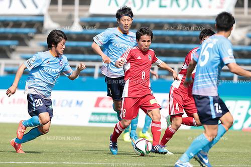(L to R) <br /> Masato Sasaki, <br /> Mitsuki Watanabe (Y.S.C.C.Yokohama), <br /> Shota Kaneko (U-22 J.League), <br /> APRIL 29, 2015 - Football /Soccer : <br /> 2015 J3 League match <br /> between Y.S.C.C.Yokohama 0-0 U-22 J.League selection <br /> at NHK Spring Mitsuzawa Football Stadium, Kanagawa, Japan. <br /> (Photo by AFLO SPORT)