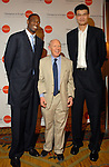 Dimembe Mutombo, mayor Bill White and Yao Ming at a benefit for Mutombo's hospital in Kinshasa at The Houstonian Thursday April 12,2007.(Dave Rossman/For the Chronicle)