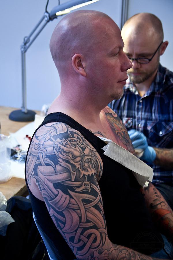 Copenhagen Inkfestival 2012. Black and grey dragon tattoo.