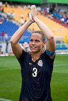 USWNT captain Christie Rampone salutes the crowd after the finals of the Peace Queen Cup.  The USWNT defeated Canada, 1-0, at Suwon World Cup Stadium in Suwon, South Korea.