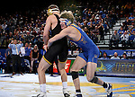 BROOKINGS, SD - DECEMBER 2: Luke Zilverberg from SDSU battles  Joey Gunther from Iowa in their 165 pound match Friday night at Frost Arena in Brookings, SD.(Photo by Dave Eggen/Inertia)