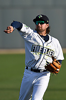 Second baseman Blake Tiberi (3) of the Columbia Fireflies warms up before a game against the Augusta GreenJackets on Opening Day, Thursday, April 5, 2018, at Spirit Communications Park in Columbia, South Carolina. Columbia won, 4-2. (Tom Priddy/Four Seam Images)