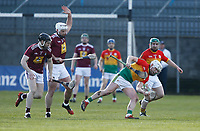 8th March 2020; TEG Cusack Park, Mullingar, Westmeath, Ireland; Allianz League Division 1 Hurling, Westmeath versus Carlow; Aaron Amond (Carlow) holds on to the ball under pressure from Westmeath players