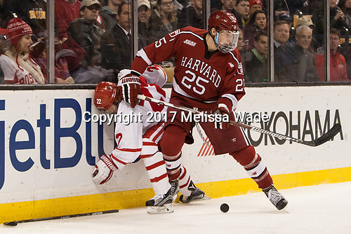 Tommy Kelley (BU - 22), Wiley Sherman (Harvard - 25) - The Harvard University Crimson defeated the Boston University Terriers 6-3 (EN) to win the 2017 Beanpot on Monday, February 13, 2017, at TD Garden in Boston, Massachusetts.