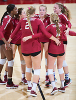 STANFORD, CA - November 3, 2018: Tami Alade, Kathryn Plummer, Jenna Gray, Meghan McClure, Kate Formico, Sidney Wilson at Maples Pavilion. No. 1 Stanford Cardinal defeated No. 15 Colorado Buffaloes 3-2.