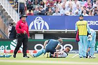 Jonny Bairstow (England) gets some on field treatment during Australia vs England, ICC World Cup Semi-Final Cricket at Edgbaston Stadium on 11th July 2019