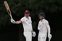 J Buttleman raises his bat to celebrate reaching his fifty for Brentwood during Brentwood CC vs Ilford CC, Shepherd Neame Essex League Cricket at The Old County Ground on 8th June 2019