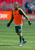 26 March 2011: Portland Timbers midfielder Jack Jewsbury #13 in action during the warm-up in an MLS game between the Portland Timbers and the Toronto FC at BMO Field in Toronto, Ontario Canada..Toronto FC won 2-0....