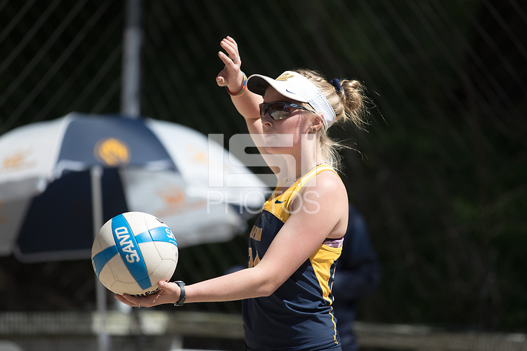 BERKELEY, CA - April 14, 2017: Cal Bears Beach Volleyball team vs. the Washington Huskies at the Clark Kerr Sand Volleyball Courts. Final score, Cal Bears 4, Washington Huskies 1.