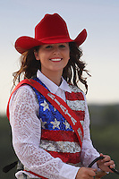 Close-up portrait of the 16 year old 'Queen' at the Riata Roundup, June 8th 2013. Shot at dusk.