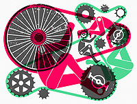 Abstract pattern of bicycles and cyclists