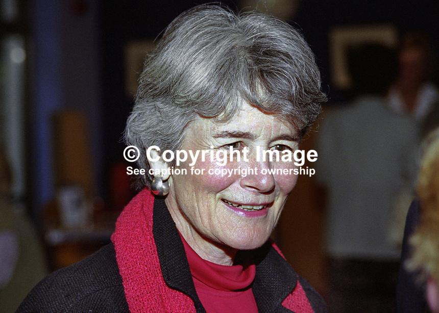 Jane Sullivan, wife of Mike Sullivan, aka Michael John Sullivan, US Ambassador to Rep of Ireland, 199908060.<br /> <br /> Copyright Image from Victor Patterson,<br /> 54 Dorchester Park, <br /> Belfast, UK, BT9 <br /> <br /> t1: +44 28 9066 1296 (from Rep of Ireland 048 90661296)<br /> t2: +44 28 9002 2446 (from Rep of Ireland 048 9002 2446)<br /> <br /> m: +44 7802 353836<br /> <br /> e: victorpatterson@me.com<br /> www.victorpatterson.com<br /> <br /> Please see my Terms and Conditions of Use at www.victorpatterson.com. It is IMPORTANT that you familiarise yourself with them.<br /> <br /> Images used on the Internet must be visibly watermarked i.e. &copy; Victor Patterson<br /> within the body of the image and copyright metadata must not be deleted. Images <br /> used on the Internet have a size restriction of 4kbs and will be chargeable at current<br />  NUJ rates unless agreed otherwise.<br /> <br /> This image is only available for the use of the download recipient i.e. television station, newspaper, magazine, book publisher, etc, and must not be passed on to any third <br /> party. It is also downloaded on condition that each and every usage is notified within 7 days to victorpatterson@me.com<br /> <br /> The right of Victor Patterson to be identified as the author is asserted in accordance with The Copyright Designs And Patents Act (1988). All moral rights are asserted.
