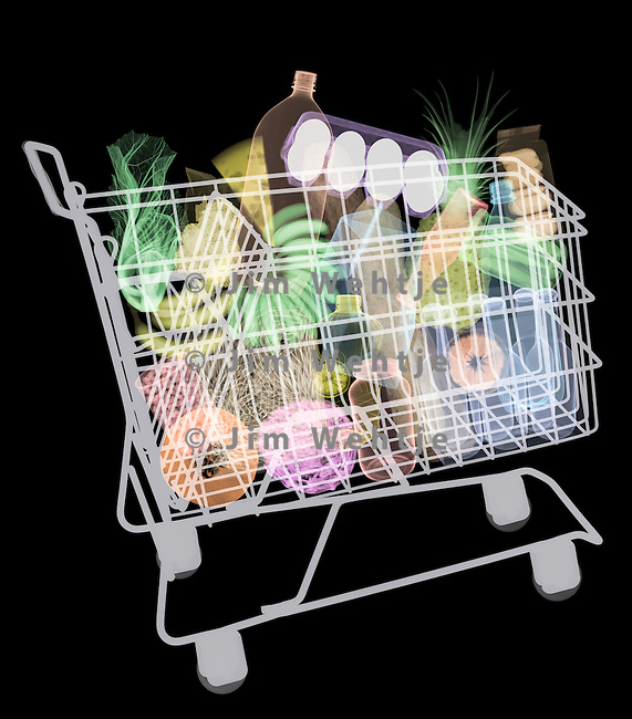 X-ray image of a full cart of food (color on black) by Jim Wehtje, specialist in x-ray art and design images.