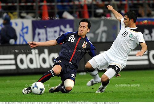 Maya Yoshida (JPN), Shavkat Salomov (UZB),.FEBRUARY 29, 2012 - Football / Soccer :.2014 FIFA World Cup Asian Qualifiers Third round Group C match between Japan 0-1 Uzbekistan at Toyota Stadium in Aichi, Japan. (Photo by Takamoto Tokuhara/AFLO)