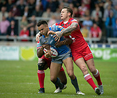 June 4th 2017, AJ Bell Stadium, Salford, Greater Manchester, England;  Rugby Super League Salford Red Devils versus Wakefield Trinity; Mason Coton-Brown of Wakefield Trinity has his run blocked