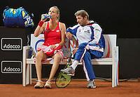 Februari 07, 2015, Apeldoorn, Omnisport, Fed Cup, Netherlands-Slovakia, Slovanian bench with  Magdaléna Rybáriková (SLO)<br /> Photo: Tennisimages/Henk Koster