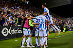 CD Leganes's players celebrate goal during La Liga match between CD Leganes and FC Barcelona at Butarque Stadium in Madrid, Spain. September 26, 2018. (ALTERPHOTOS/A. Perez Meca)